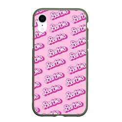 Чехол iPhone XR матовый Barbie Pattern цвета 3D-темно-зеленый — фото 1