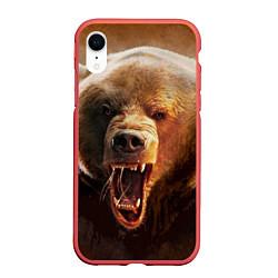 Чехол iPhone XR матовый Рык медведя цвета 3D-красный — фото 1