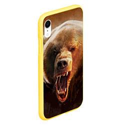 Чехол iPhone XR матовый Рык медведя цвета 3D-желтый — фото 2