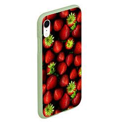 Чехол для iPhone XR матовый с принтом Клубничка, цвет: 3D-салатовый, артикул: 10065069205903 — фото 2