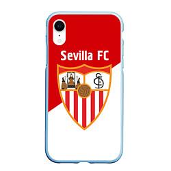 Чехол iPhone XR матовый Sevilla FC цвета 3D-голубой — фото 1