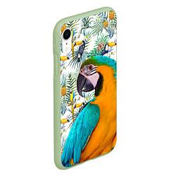 Чехол iPhone XR матовый Летний попугай цвета 3D-салатовый — фото 2