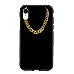 Чехол iPhone XR матовый Золотая цепь цвета 3D-черный — фото 1