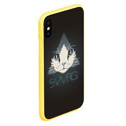 Чехол iPhone XS Max матовый Cat цвета 3D-желтый — фото 2