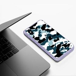 Чехол iPhone XS Max матовый Камуфляж зимний: пятна цвета 3D-светло-сиреневый — фото 2