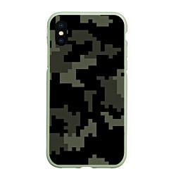 Чехол iPhone XS Max матовый Камуфляж пиксельный: черный/серый цвета 3D-салатовый — фото 1