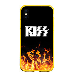 Чехол iPhone XS Max матовый Kiss: Hell Flame цвета 3D-желтый — фото 1