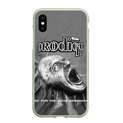 Чехол iPhone XS Max матовый The Prodigy: Madness цвета 3D-салатовый — фото 1