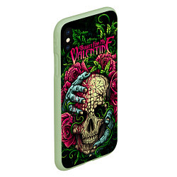 Чехол iPhone XS Max матовый BFMV: Roses Skull цвета 3D-салатовый — фото 2