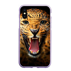 Чехол iPhone XS Max матовый Рык леопарда цвета 3D-светло-сиреневый — фото 1