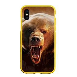 Чехол iPhone XS Max матовый Рык медведя цвета 3D-желтый — фото 1
