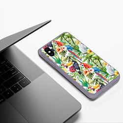 Чехол iPhone XS Max матовый Попугаи в тропиках цвета 3D-серый — фото 2