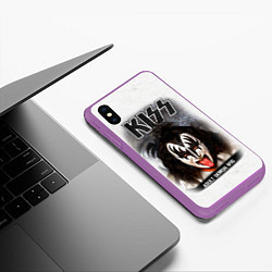Чехол iPhone XS Max матовый KISS: Adult demon wig цвета 3D-фиолетовый — фото 2