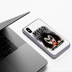 Чехол iPhone XS Max матовый KISS: Adult demon wig цвета 3D-серый — фото 2