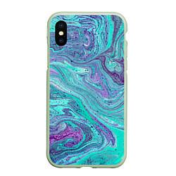 Чехол iPhone XS Max матовый Смесь красок цвета 3D-салатовый — фото 1