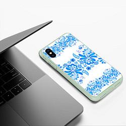 Чехол iPhone XS Max матовый Гжель цвета 3D-салатовый — фото 2