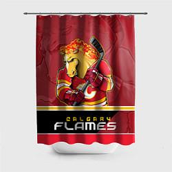 Шторка для душа Calgary Flames цвета 3D-принт — фото 1