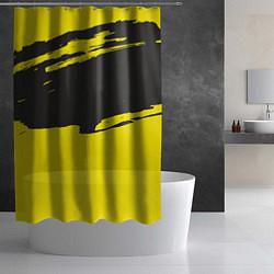 Шторка для душа Чёрно-жёлтый цвета 3D — фото 2