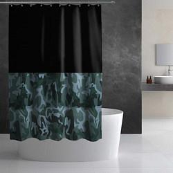 Шторка для душа Камуфляж: черный/синий цвета 3D — фото 2