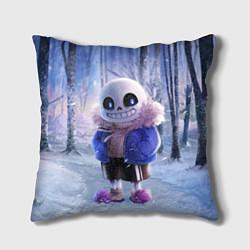 Подушка квадратная Winter forest & Sans цвета 3D-принт — фото 1