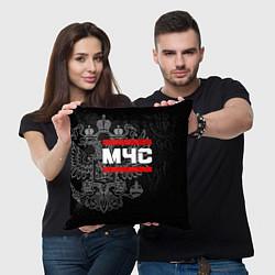 Подушка квадратная МЧС: герб РФ цвета 3D-принт — фото 2