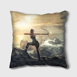 Подушка квадратная Tomb Raider цвета 3D-принт — фото 1
