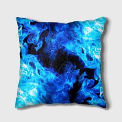 Подушка квадратная СИНИЙ ОГОНЬ цвета 3D-принт — фото 1