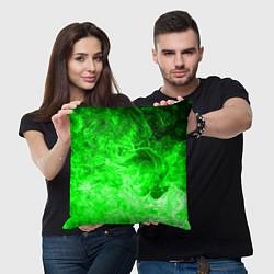Подушка квадратная ОГОНЬ GREEN NEON цвета 3D-принт — фото 2