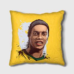 Подушка квадратная Ronaldinho Art цвета 3D-принт — фото 1