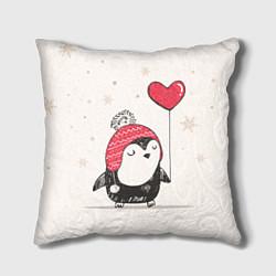 Подушка квадратная Влюбленный пингвин цвета 3D — фото 1