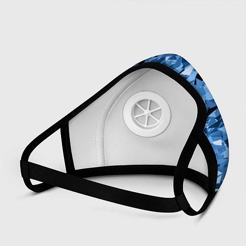 Маска с клапаном Сине-бело-голубой лев / 3D-Белый – фото 3