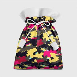 Мешок для подарков Камуфляж: желтый/черный/розовый цвета 3D — фото 1
