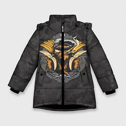 Куртка зимняя для девочки Камуфляжная обезьяна цвета 3D-черный — фото 1