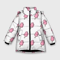 Куртка зимняя для девочки Мороженое розовое цвета 3D-черный — фото 1