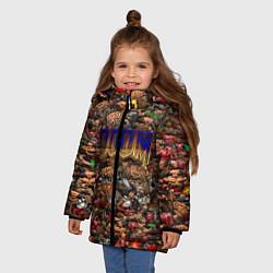 Куртка зимняя для девочки DOOM: Pixel Monsters цвета 3D-черный — фото 2