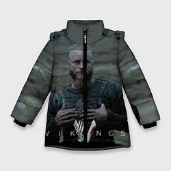Куртка зимняя для девочки Vikings: Ragnarr Lodbrok цвета 3D-черный — фото 1