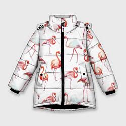 Куртка зимняя для девочки Действия фламинго цвета 3D-черный — фото 1