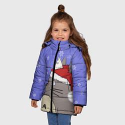 Куртка зимняя для девочки Тоторо и снег цвета 3D-черный — фото 2