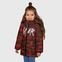 Детская зимняя куртка для девочки с принтом Slayer Texture, цвет: 3D-черный, артикул: 10112040806065 — фото 2