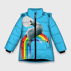 Куртка зимняя для девочки Полярный мишка цвета 3D-черный — фото 1