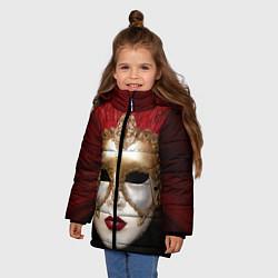 Куртка зимняя для девочки Венецианская маска цвета 3D-черный — фото 2