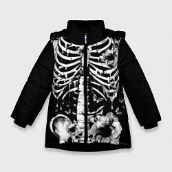 Куртка зимняя для девочки Floral Skeleton цвета 3D-черный — фото 1