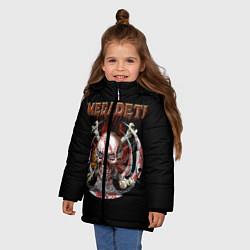 Детская зимняя куртка для девочки с принтом Megadeth: Skull in chains, цвет: 3D-черный, артикул: 10118376806065 — фото 2