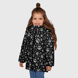 Куртка зимняя для девочки Peace Symbol цвета 3D-черный — фото 2