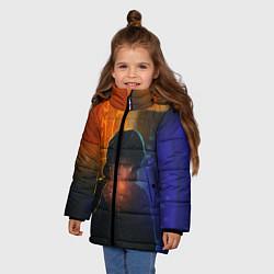 Куртка зимняя для девочки Виктор Цой в ночи цвета 3D-черный — фото 2