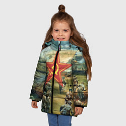 Куртка зимняя для девочки Наступление советской армии цвета 3D-черный — фото 2