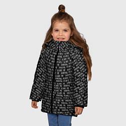 Куртка зимняя для девочки Normal people scare me цвета 3D-черный — фото 2