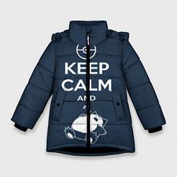 Куртка зимняя для девочки Keep Calm & Squirtle цвета 3D-черный — фото 1