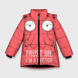 Куртка зимняя для девочки Доверься Зойдбергу цвета 3D-черный — фото 1