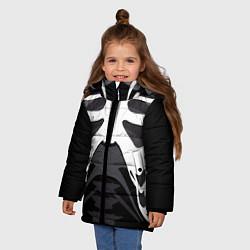 Куртка зимняя для девочки Скелет Ч/Б цвета 3D-черный — фото 2